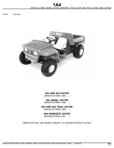 John Deere Gator 6x4 Parts Diagram : deere, gator, parts, diagram, Deere, Gator, Utility, Parts, Manual, PC2387, Vehicle, Finney, Equipment