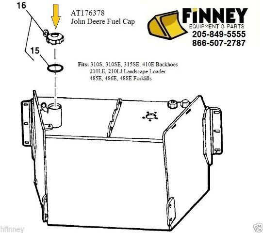 Locking Fuel Cap John Deere 310S 310SE 410E backhoe