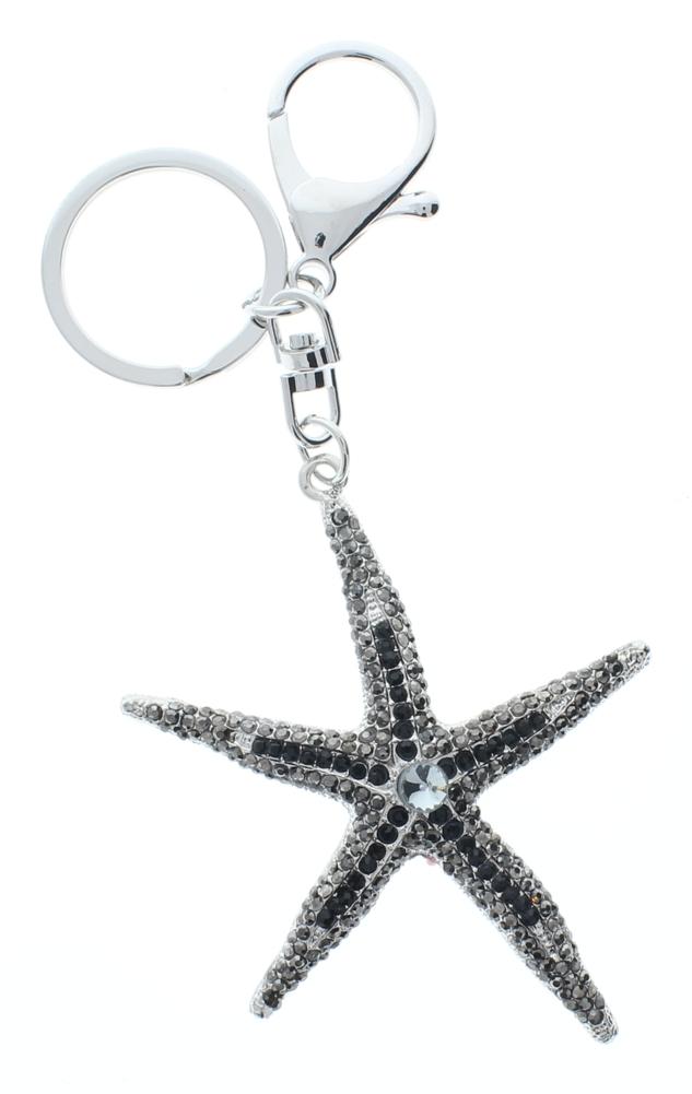Rhinestone Bling Starfish Ocean Nautical Gold Tone Key