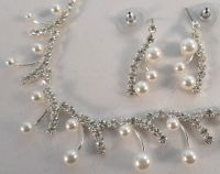 Delicate Pearl Drop Crystal Rhinestone Bling Necklace And ...