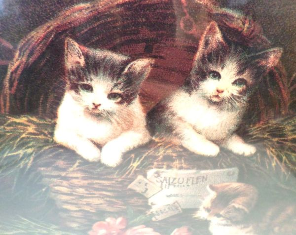 """Victorian Lithograph Print """"kittens In Mischief"""