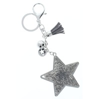 Rhinestone Bling Grey Shooting Star Silver Tone Accents