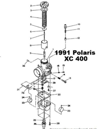 Polaris XC 400 Snowmobile Carburetor Rebuild Kit 1003-1476