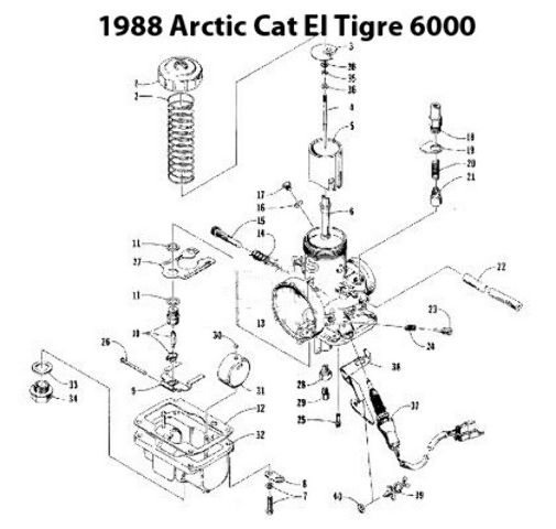 Arctic Cat El Tigre 6000 Snowmobile VM38-192 Carburetor