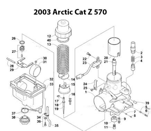 Arctic Cat Sabercat 500 LX Snowmobile VM34-588 Carburetor