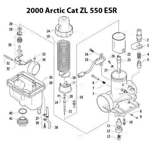 2000-2003 Arctic Cat ZL 550 ESR Snowmobile Carburetor