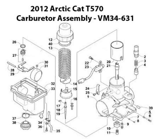 Arctic Cat T570 Snowmobile VM34-631 Carburetor Rebuild Kit