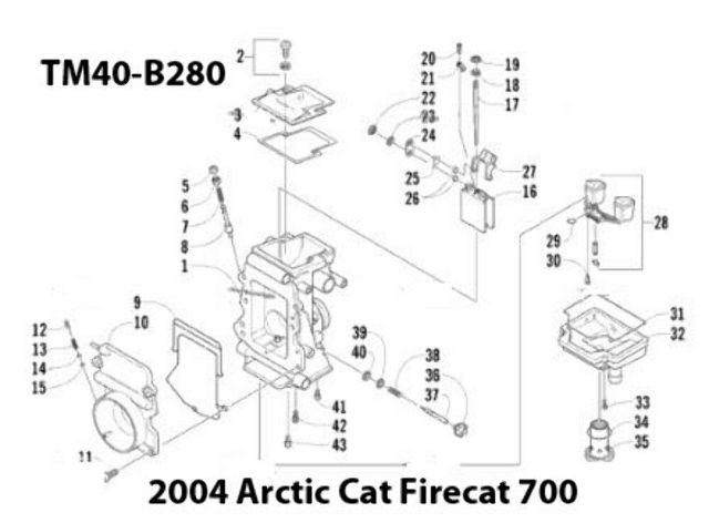 Arctic Cat F7 Firecat 700 Snowmobile TM40-B280 Carburetor