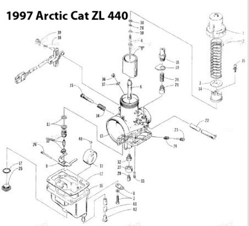 Arctic Cat ZL 440 Snowmobile VM36-166 Carburetor Rebuild
