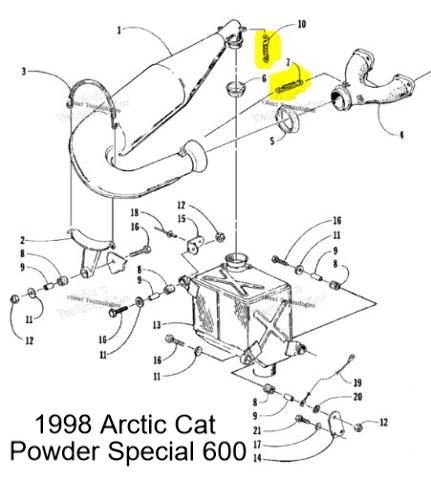Arctic Cat ZR500 ZL600 ZL500 ZR600 Snowmobile Exhaust