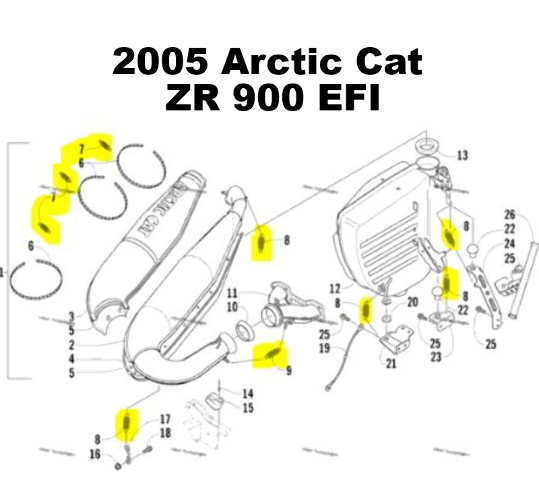 Snowmobile Exhaust Spring Replacement Kit for Arctic 2005