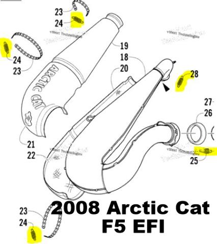 Arctic Cat F5 M8 F570 Lynx 2000 Snowmobile Exhaust Spring