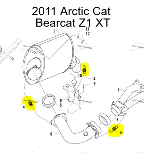 Arctic Cat Bearcat Z1 Snowmobile Exhaust Spring