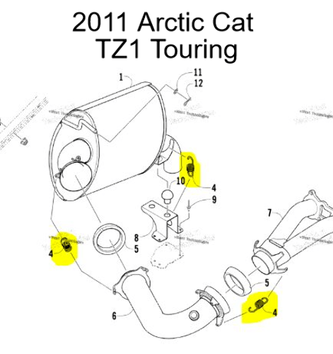 Arctic Cat TZ1 Z1 Turbo Sno Pro Snowmobile Exhaust Spring