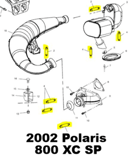 Polaris 700 800 XC SP 600 800 RMK Snowmobile Exhaust