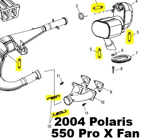 Polaris 2004 Polaris 550 Pro X Fan Snowmobile Exhaust