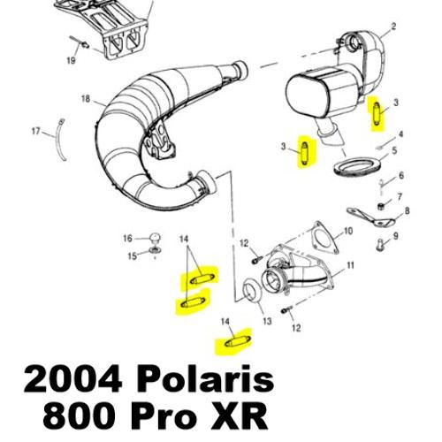Polaris 600 Classic Frontier 800 Pro XR Snowmobile Exhaust
