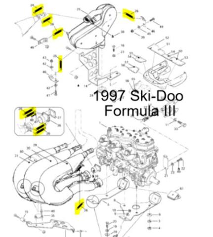 Ski-Doo Snowmobile Formula III Mach Z Mach 1 Exhaust