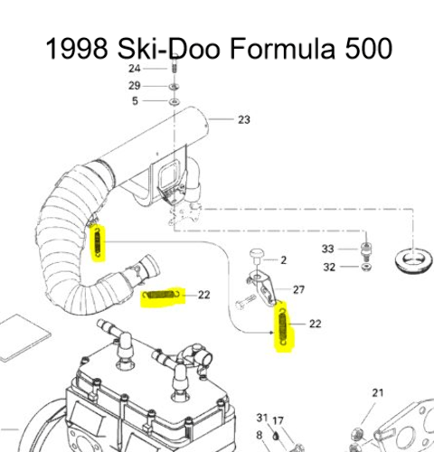 Snowmobile Exhaust Spring Kit for Ski-Doo Formula 500 583