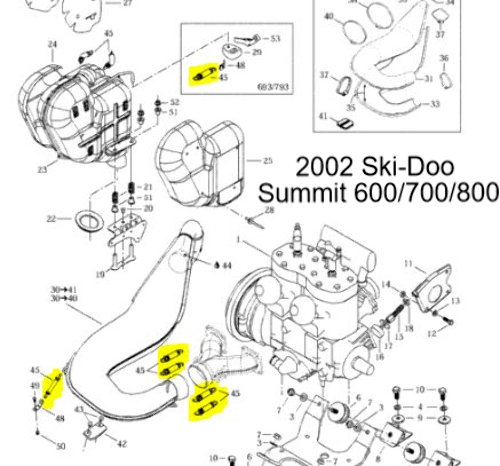 Ski-Doo MX Z 670 500 600 700 800 Snowmobile Exhaust Spring