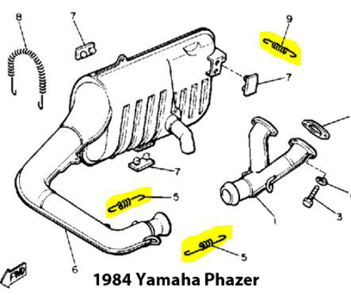 Yamaha Phazer Snowmobile Exhaust Spring Replacement Kit
