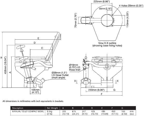 Jabsco 29090-3000 Compact Toilet Head Manual Pump Twist n