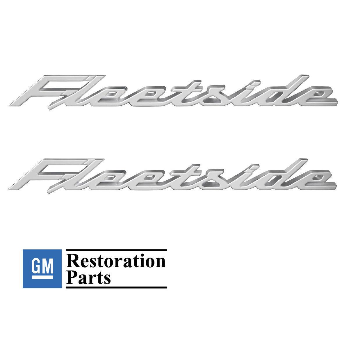(2) 1958-1959 Chevy Fleetside Rear Bed Script Chrome