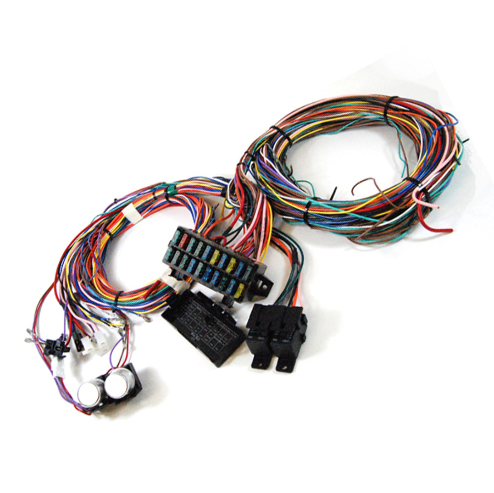 hight resolution of  complete universal 12v 24 circuit 20 fuse wiring harness wire kit v8 rat hot rod