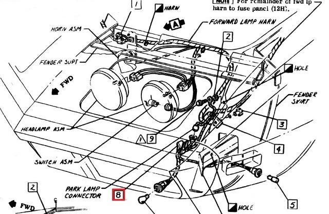 Corvette Original Headlight Wiring Harness Clip for Outer