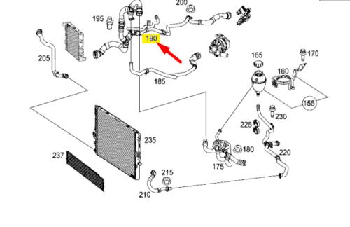 Genuine Mercedes-Benz Coolant Radiator Hose Assembly Pipe