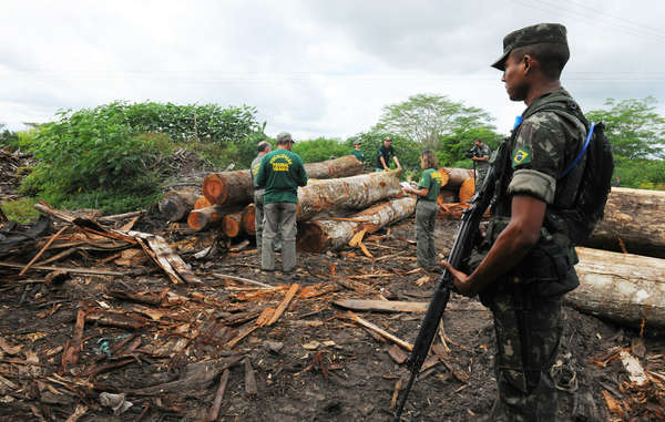 Brazil's military has moved in to stop illegal logging around the land of Earth's most threatened tribe.