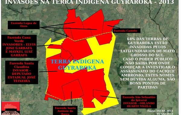 Les plantations de canne à sucre (en rouge) occupent la majeure partie du territoire ancestral (contour jaune) de la communauté d'Ambrosio.