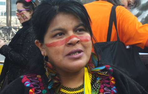 Sônia Guajajara at a protest in Paris against Brazil's plans for a series of mega-dams in the Amazon, March 2014.