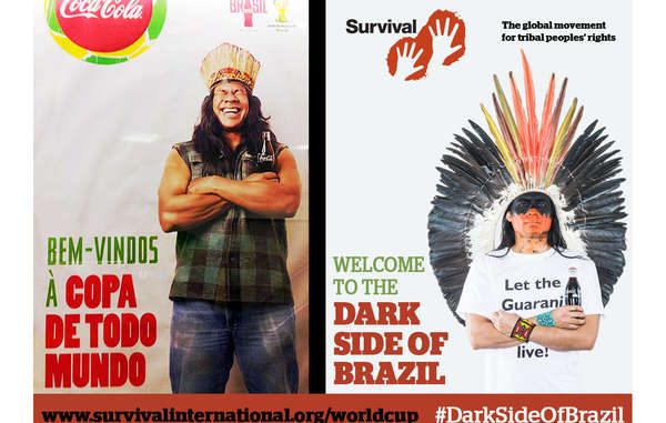 Coca-Cola and FIFA's image has been contrasted with an angry Indian man demanding, 'Let the Guarani live!'