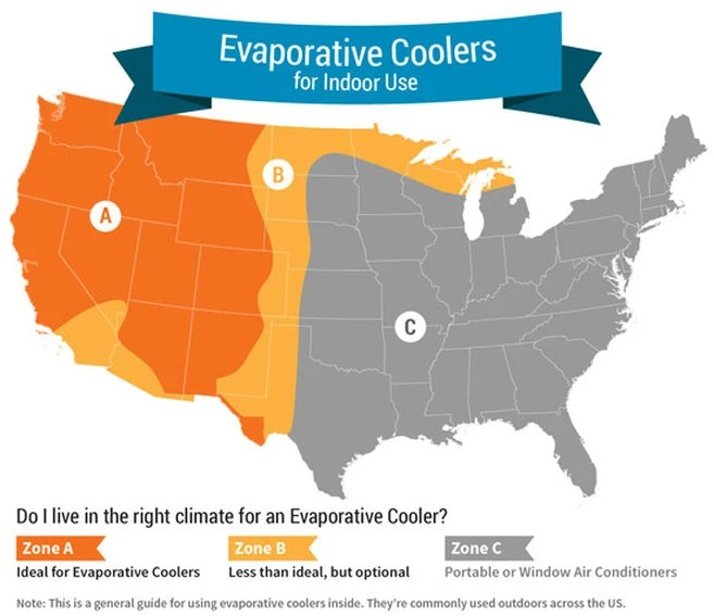 Evaporative cooler map also things to consider when buying an sylvane rh