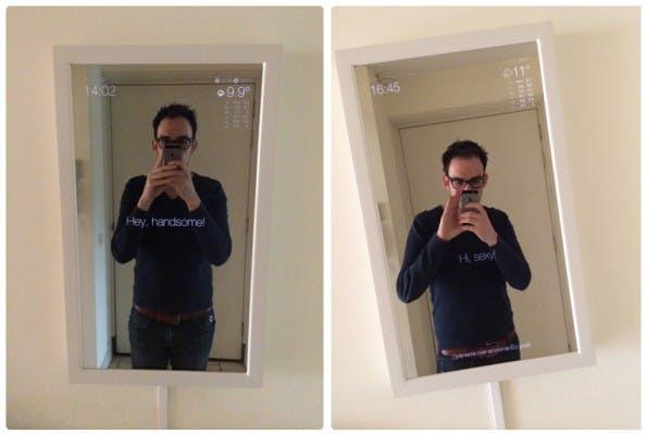 Dank Raspberry Pi seht ihr auf diesem Spiegel alle wichtigen Informationen. (Screenshot: michaelteeuw.nl)