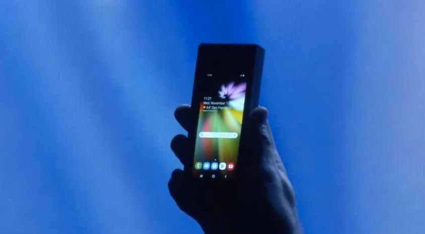 Das Samsung-Foldable im zusammengeklappten Zustand. (Screenshot: t3n.de/Samsung)