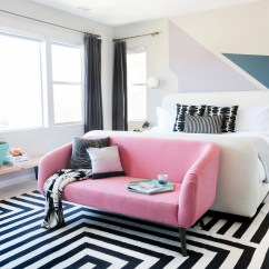 Sofa For Teenage Bedroom Distressed Leather And Loveseat Makeover Geometric Décor Pink Teen Vogue