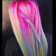 unicorn hair color trend - colorful