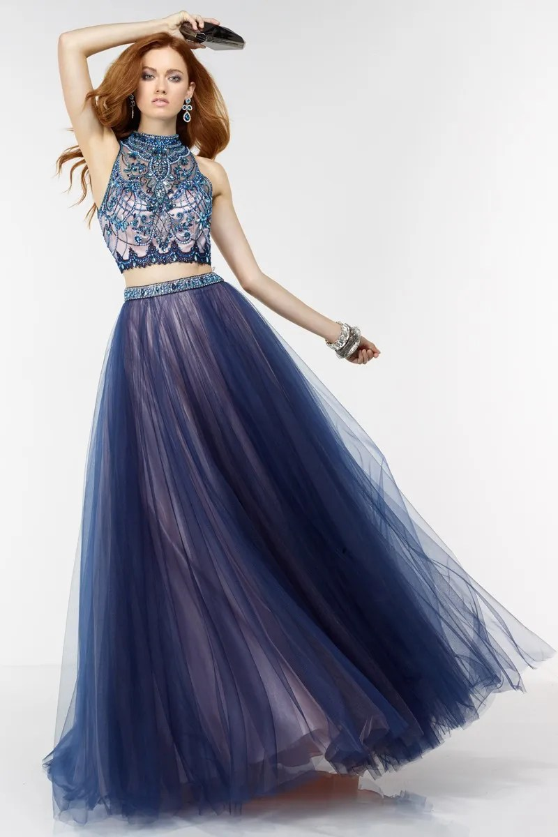 Navy Blue Velvet Gown Evening