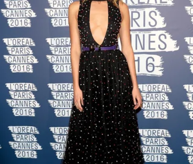 Karlie Kloss Took Plunging Necklines To The Next Level In An Elie Saab Dotted Gown Paired