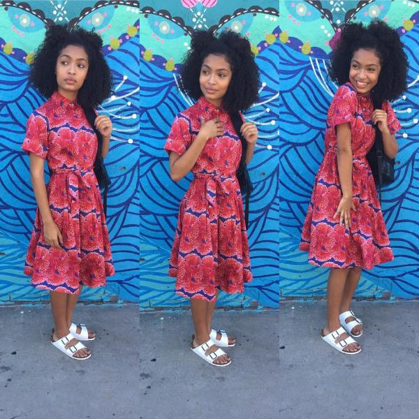 Yara Shahidi Wears Birckenstocks And Floral Dress Teen Vogue
