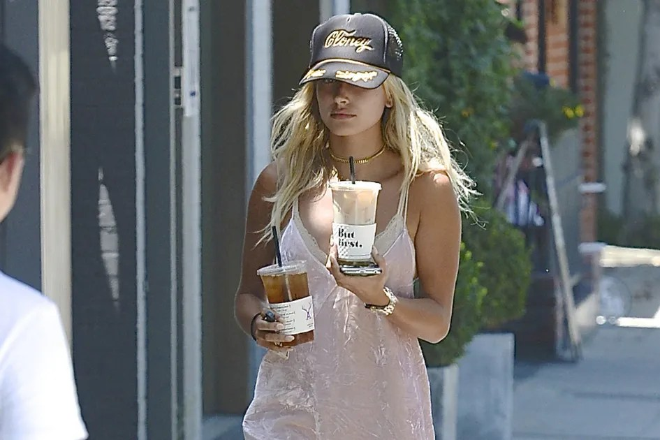 Hailey Baldwin Wears a Slip Dress and Sneakers to Get Coffee  Teen Vogue