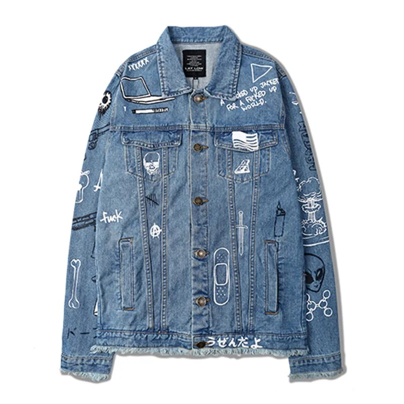 ASAP Rocky Wore a Graffiti Denim Jacket to Kylie Jenners