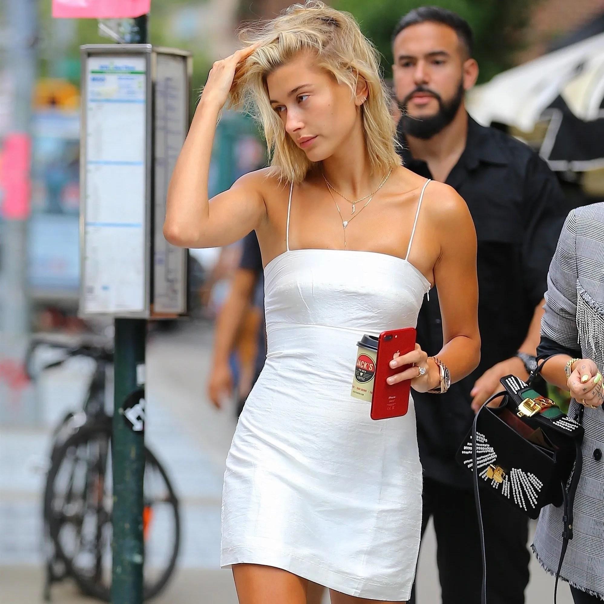 9b39f772176c9c Newly-engaged Hailey Baldwin is already testing out wedding white