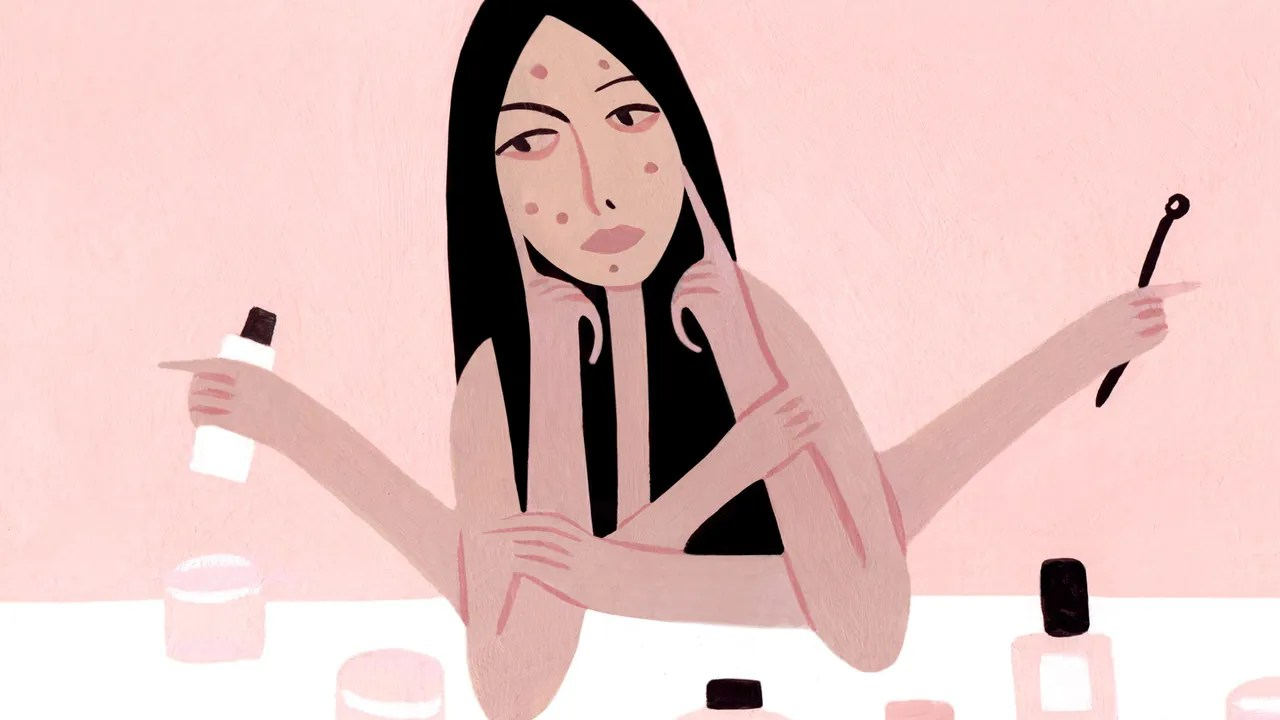 hight resolution of illustration of a person touching irritation and acne on their face