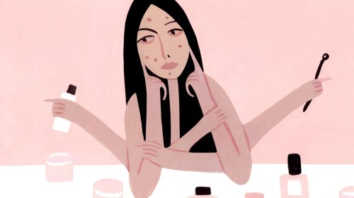 small resolution of illustration of a person touching irritation and acne on their face