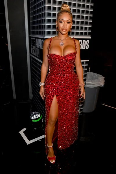 LOS ANGELES CALIFORNIA  JUNE 27 Saweetie attends the BET Awards 2021 at Microsoft Theater on June 27 2021 in Los Angeles...