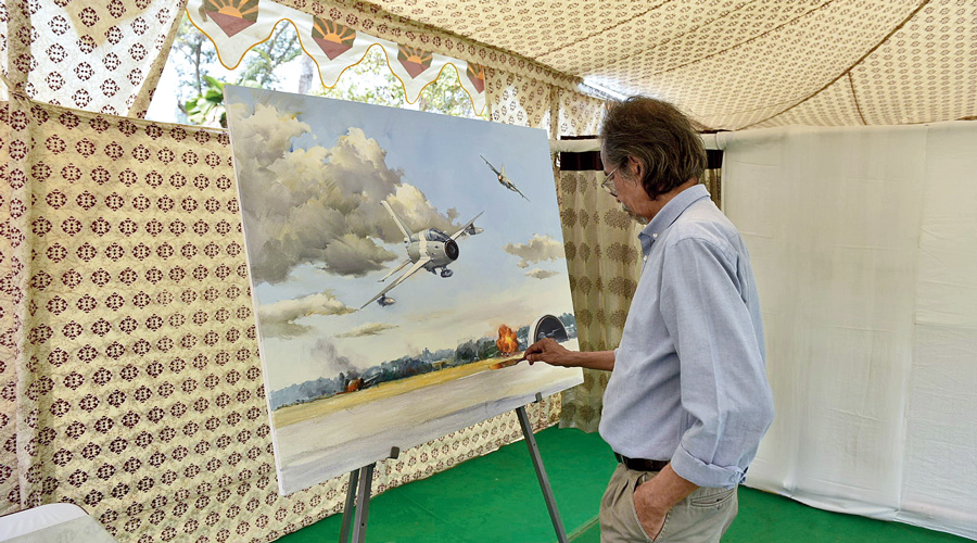 Ahmed Shamsuddoha's painting of a fighter plane flying over a battleground.