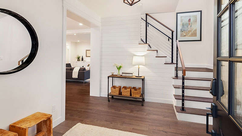 The Rise Of The Modern Farmhouse Mortgage Rates Mortgage News | Modern Farmhouse Stair Railing | Contemporary | Design Small House | Simple 2Nd Floor Railing Wood Stairs Iron Railing Design | Vintage Farmhouse | Wire